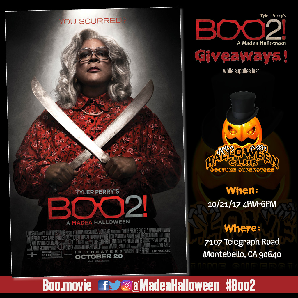 come in to do your halloween shopping between 4pm 6pm and to score free boo2 movie giveaways no purchase necessary and while supplies last