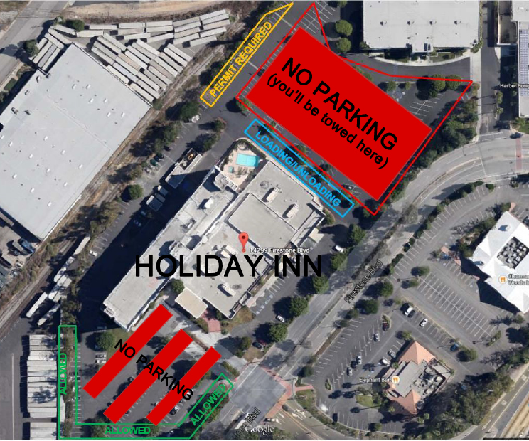 Spook Show parking at Holiday Inn